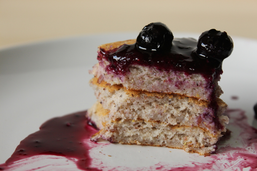 Gluten-Free Pancakes with Blueberry Sauce